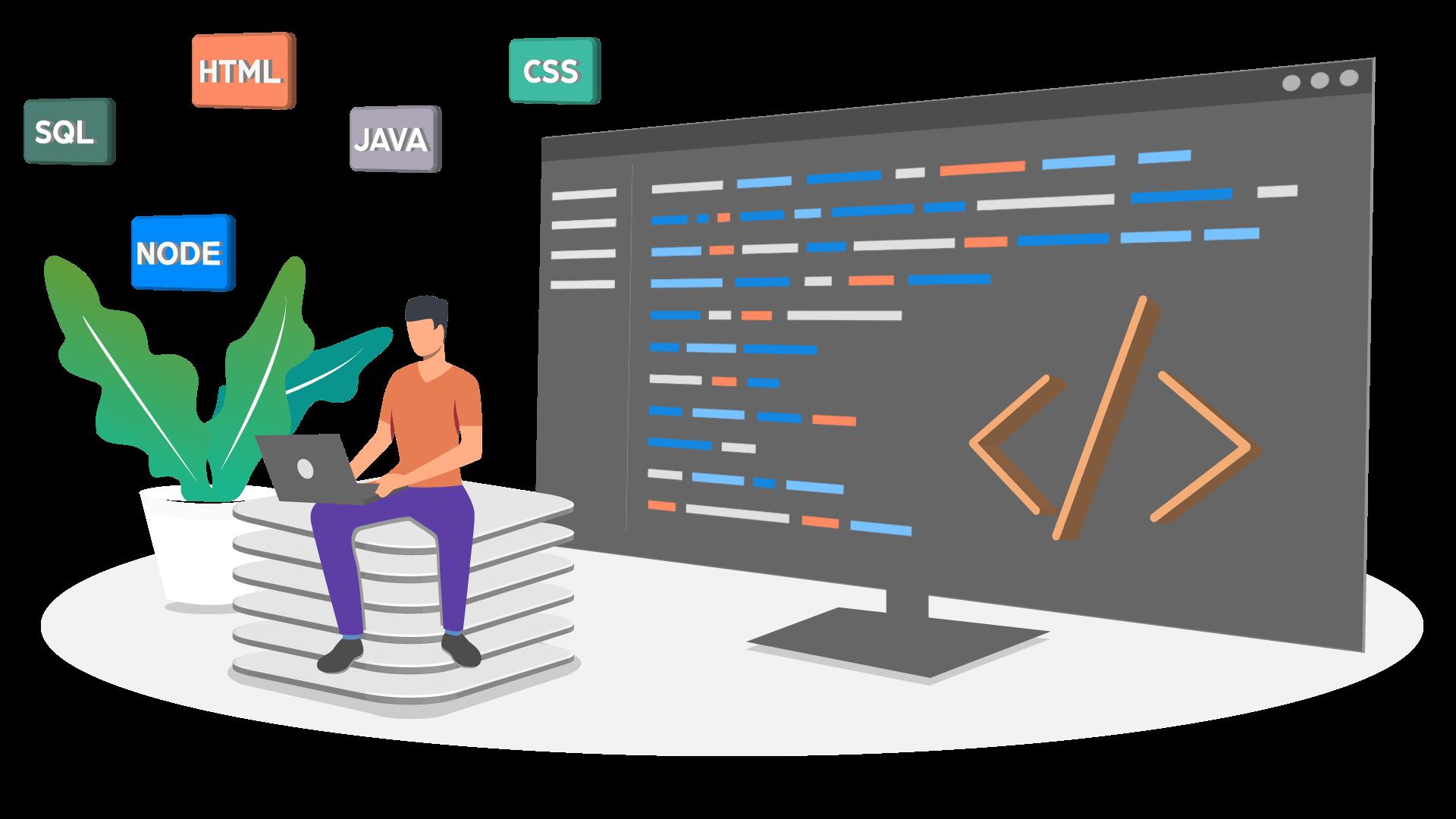 Person sitting, development, coding, HTML, SQL, NodeJS, CSS, Java, Angular